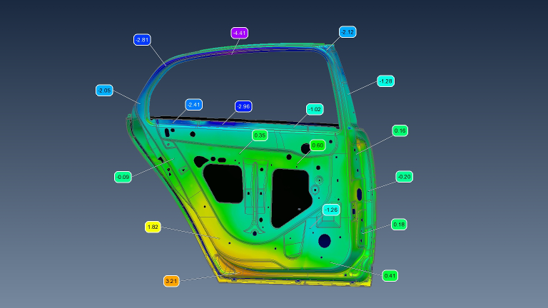 Colour map of a 3D scan of a car door for 3D quality control
