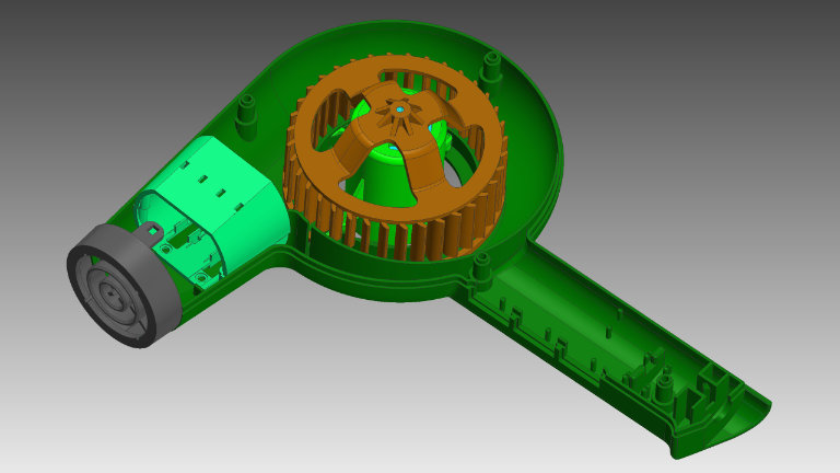 CAD model of a hairdryer generated by reverse engineering
